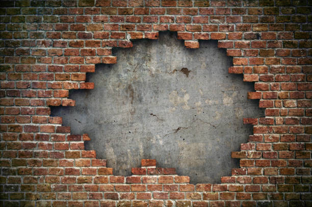 old red brick wall damaged background - wall foto e immagini stock
