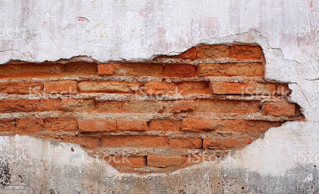 Old Red Brick Wall Disintegrated royalty-free stock photo