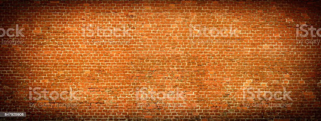 Old Red Brick wall panoramic view. stock photo