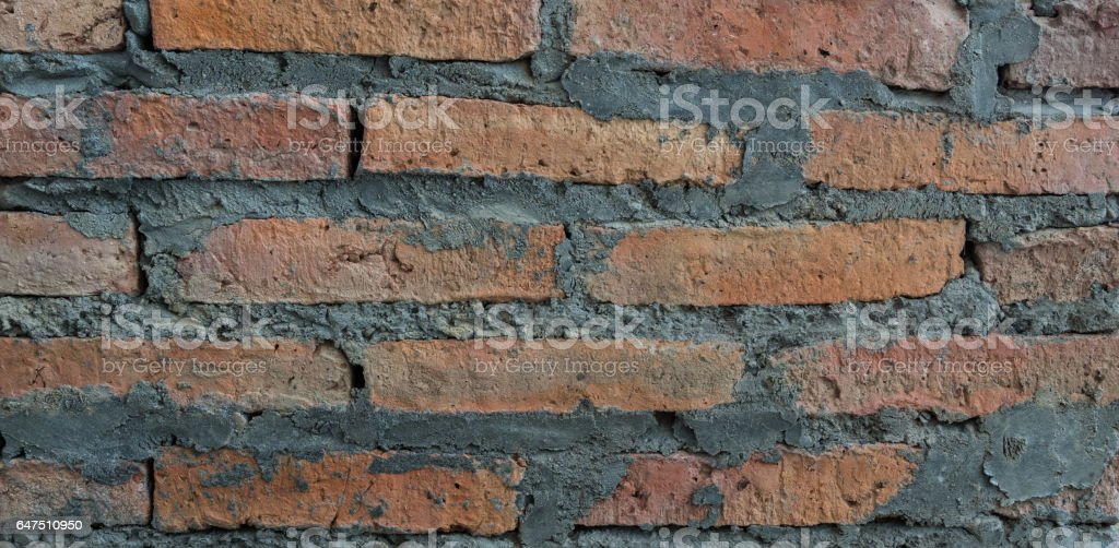 Old red brick wall texture for background. stock photo