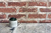 Old red brick wall texture grunge background with vignetted corners, may use to interior design