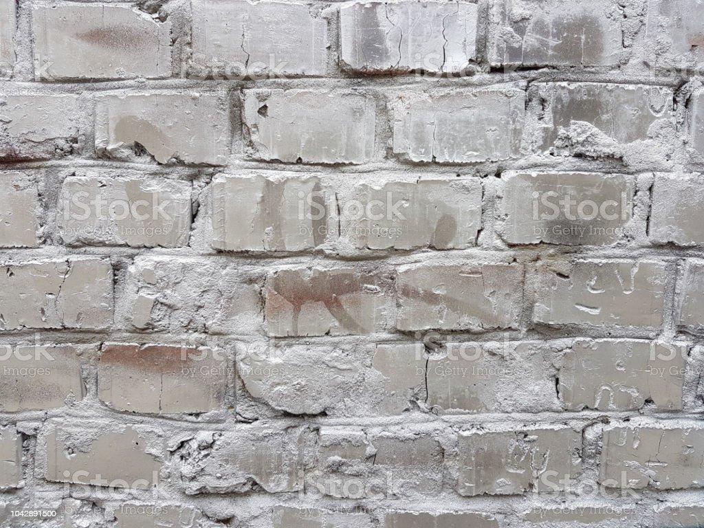 Peindre Un Mur De Brique photo libre de droit de vieux mur de briques rouges avec une couche de  peinture blanche endommagé closeup texture de fond photo composition sans