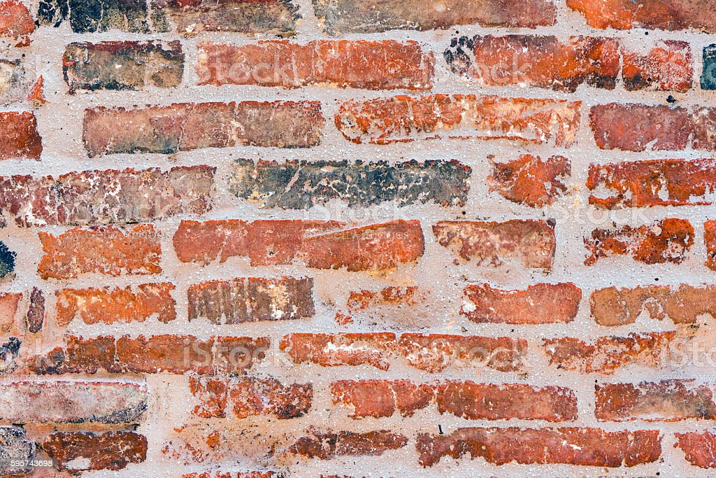 Old red brickwall stock photo