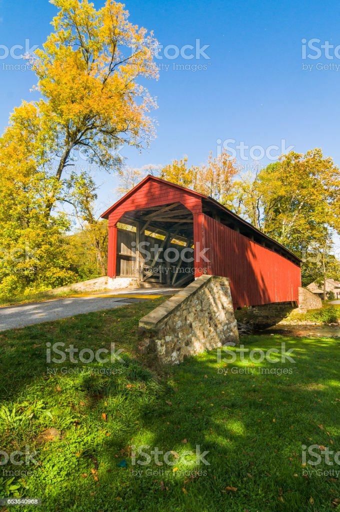 Old Red Covered Bridge stock photo