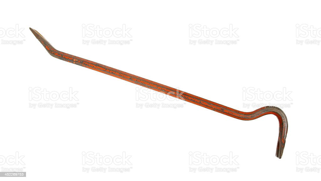 Old red crowbar stock photo