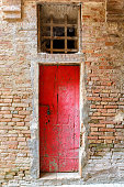 Old red door to a house