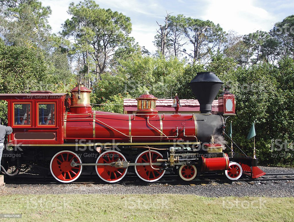 Old red engine stock photo