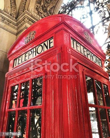old red english telephone box, london, england