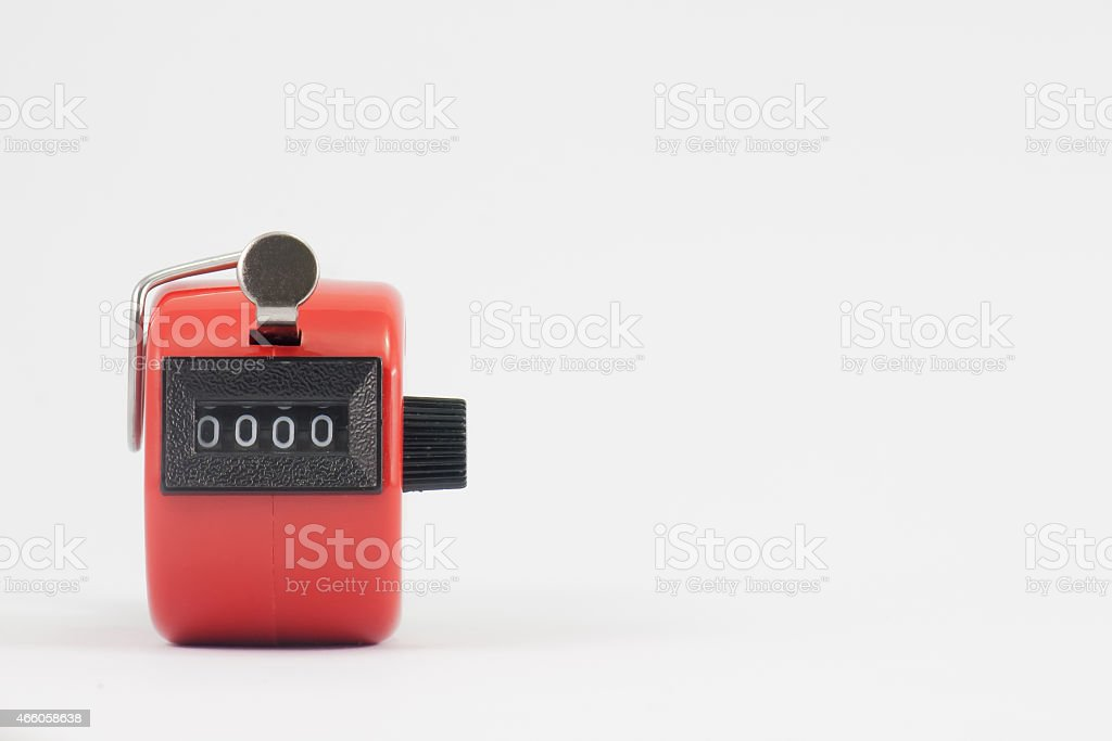 old red hand tally counter stock photo