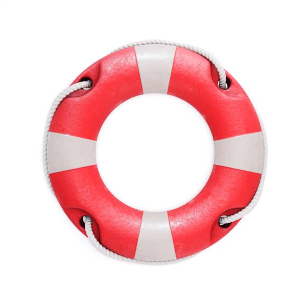 alte rote rettungsring isoliert auf einem weißen hintergrund. 3d illustration - sos einzelwort stock-fotos und bilder