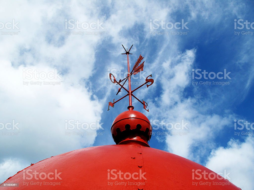 Old Red Lighthouse Weather Vane royalty-free stock photo