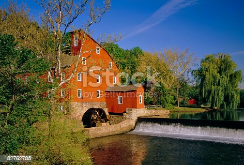 The Old Red Mill is now part of the Red Mill Museum Village in Clinton, New Jersey