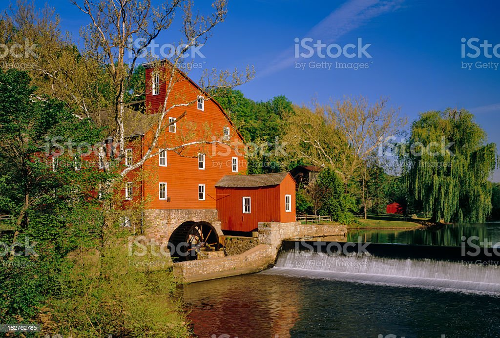 Old Red Mill at Clinton, NJ stock photo