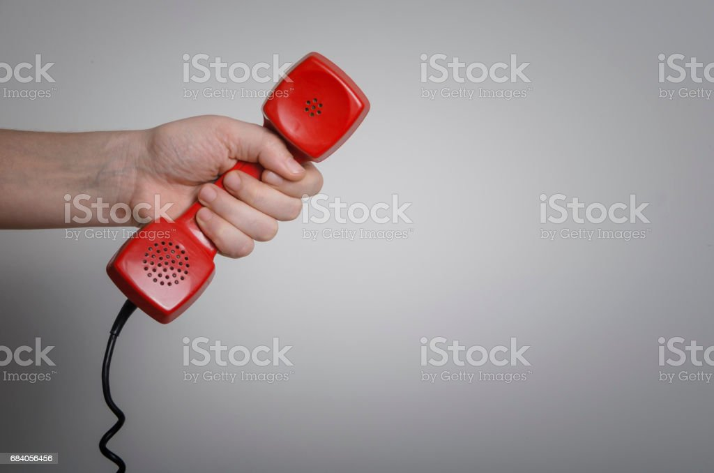 Old red phone stock photo