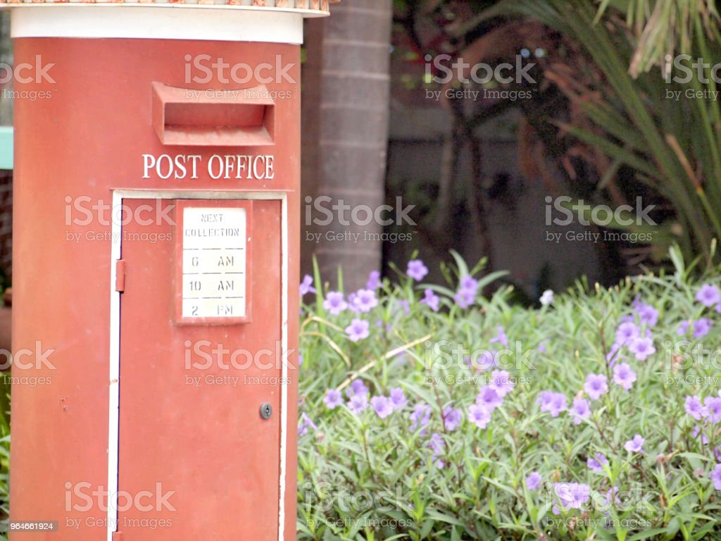 old red post box royalty-free stock photo