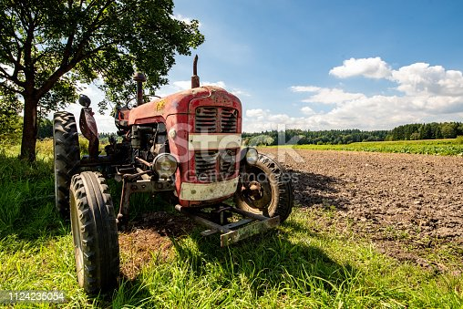 Old red rusty tractor in a field. Sunny summer day. Copy space