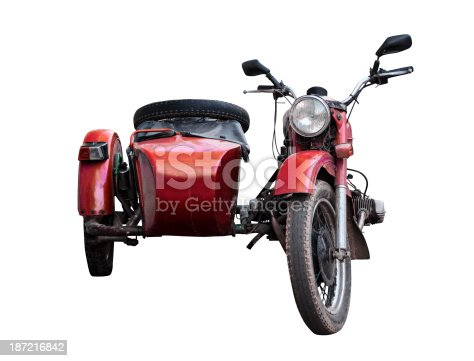 red sidecar isolated on white background with clipping path.