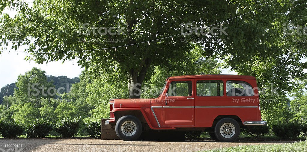 Old Red Station Wagon stock photo