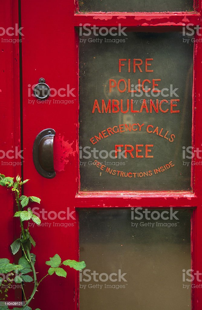 Old red telephone box stock photo