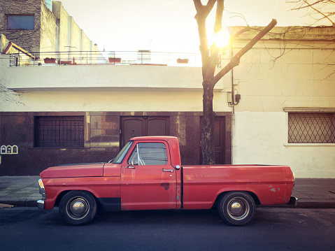 Vintage red truck parked in the street in Buenos Aires, Argentina