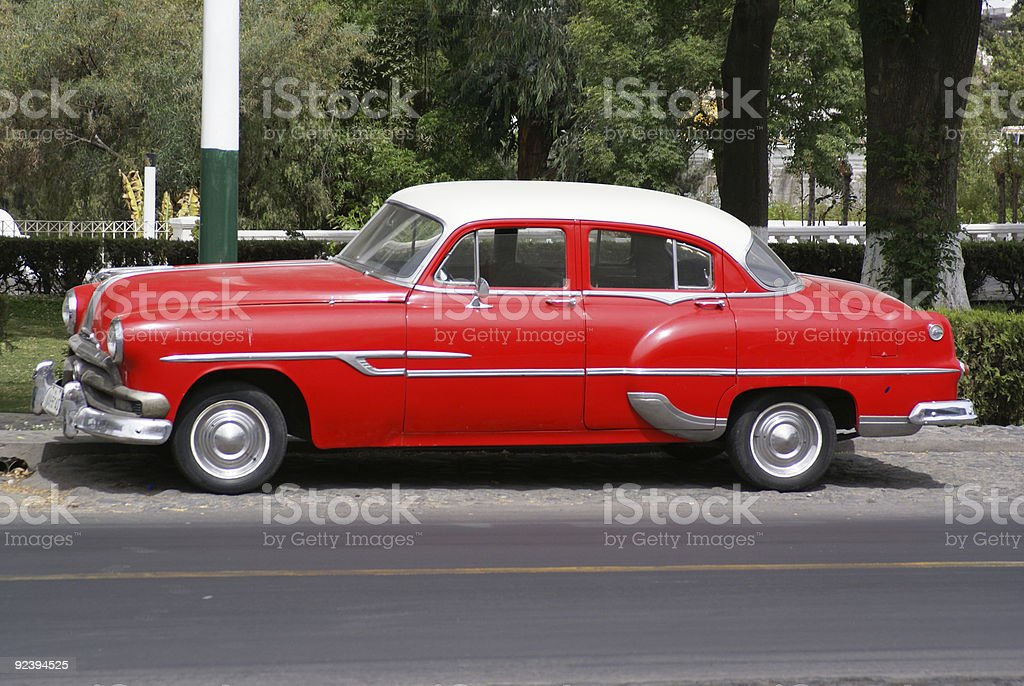 Old red US built car stock photo