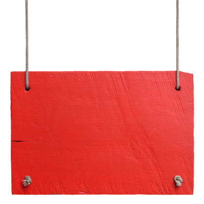 Old weathered red wood signboard, hanging by old rope, high resolution, composite image, isolated on white, clipping path included.