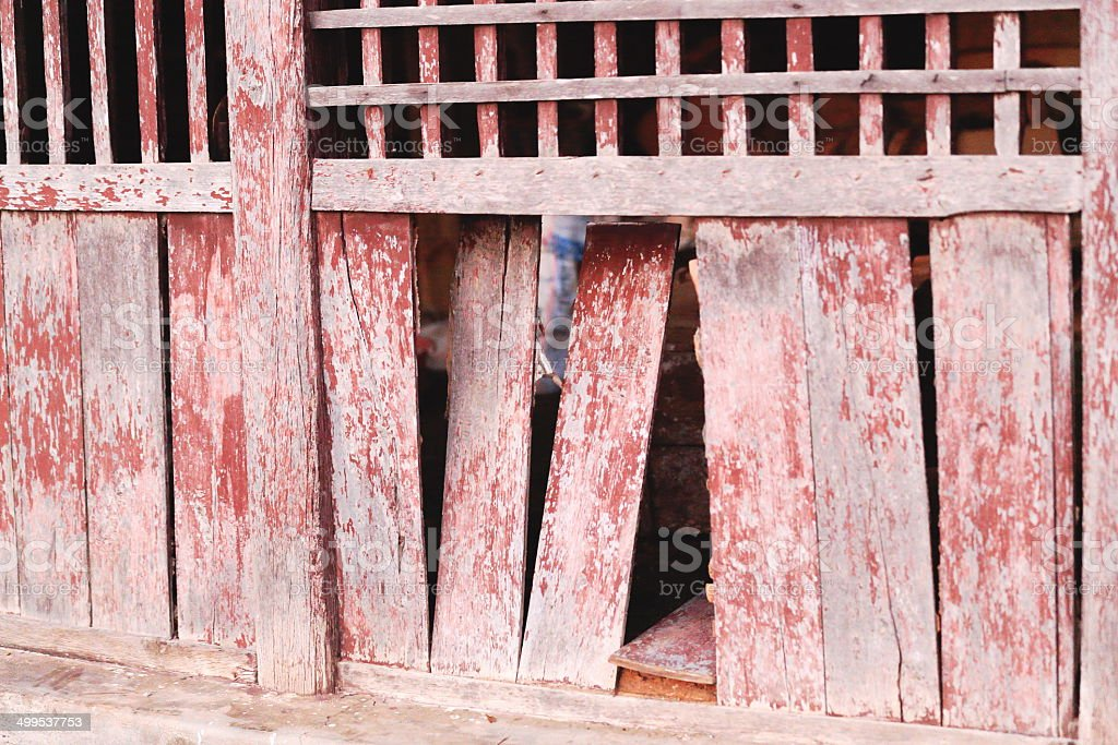 Old red wooden wall. Bandipur-Nepal. 0462 royalty-free stock photo