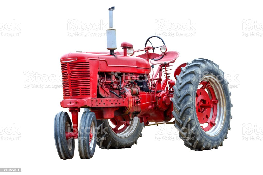 Old Red Work Tractor Isolated On White stock photo