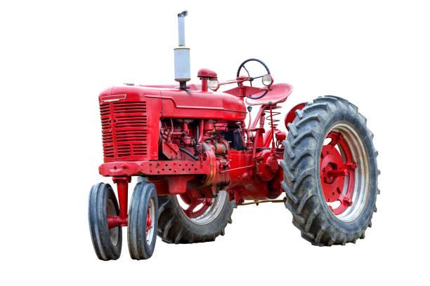 Alte rote Arbeit Traktor, Isolated On White – Foto