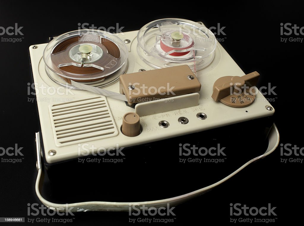 old reel cassette player stock photo