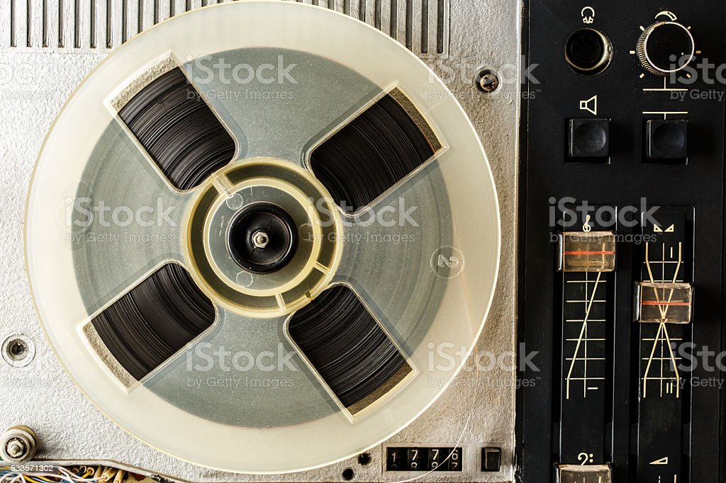 Old reel tape recorder stock photo