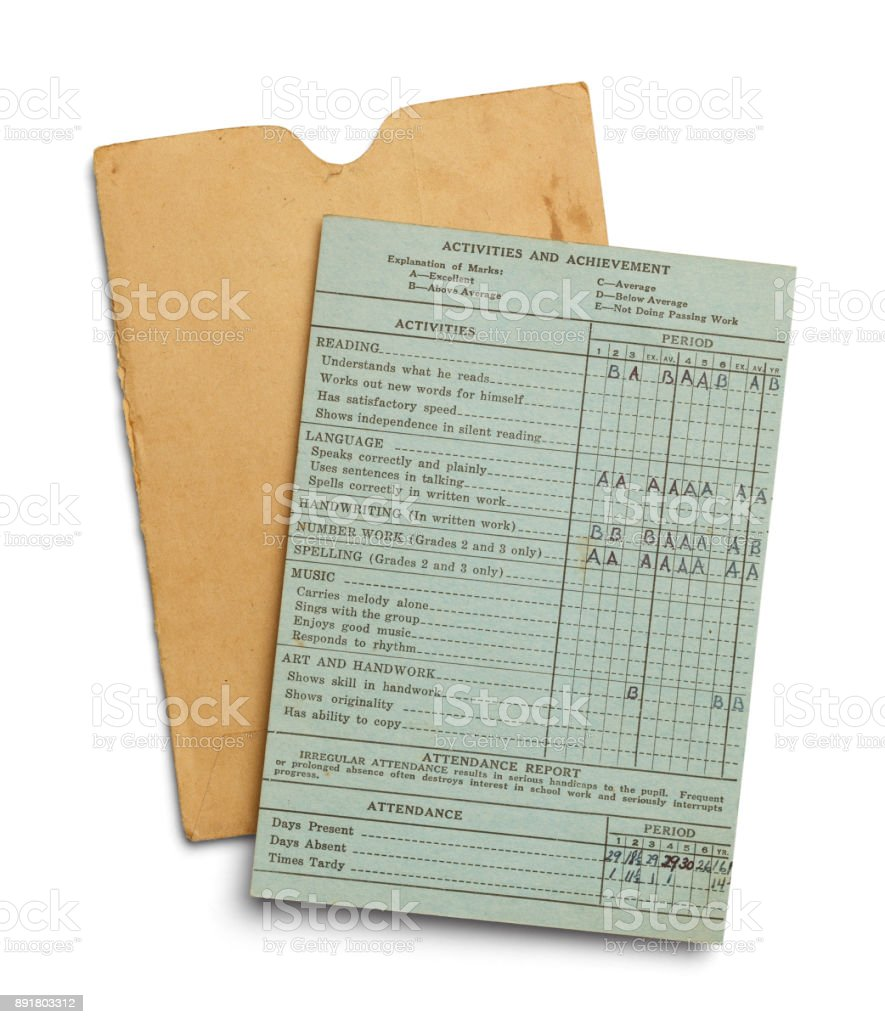 Old Report Card stock photo