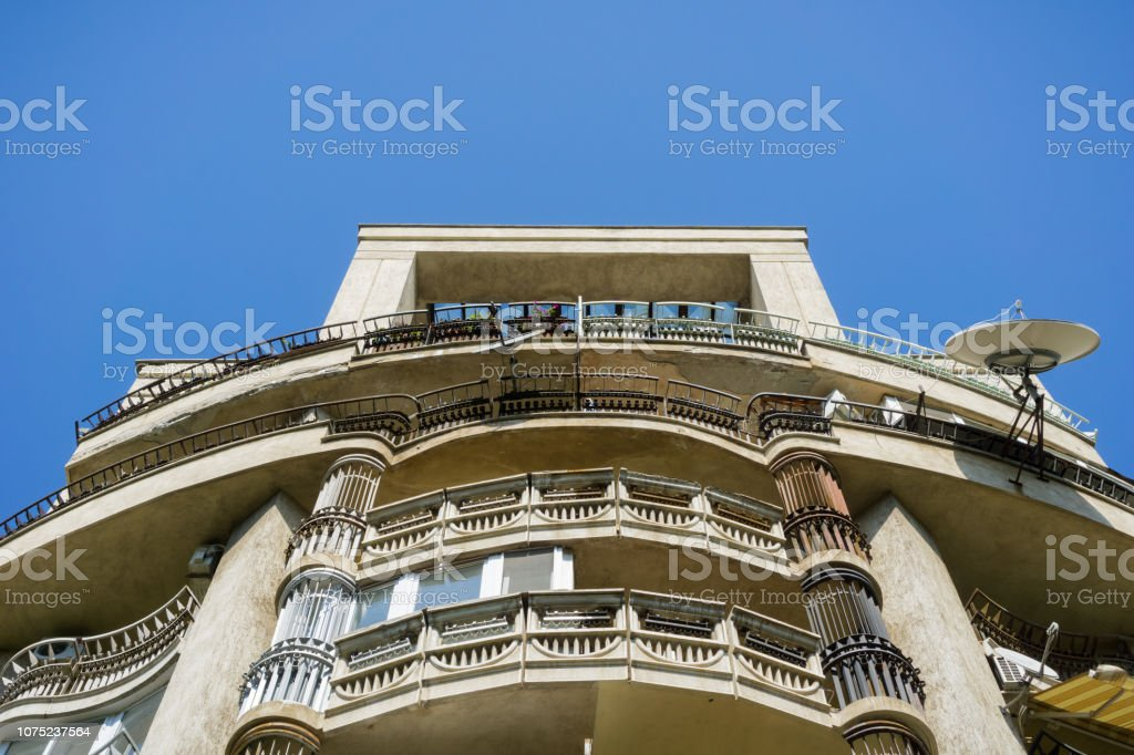 Old residential building, Bucharest stock photo