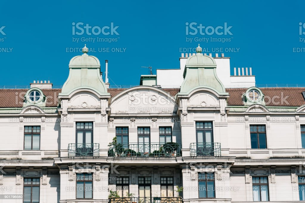 Old residential building in  in Vienna stock photo