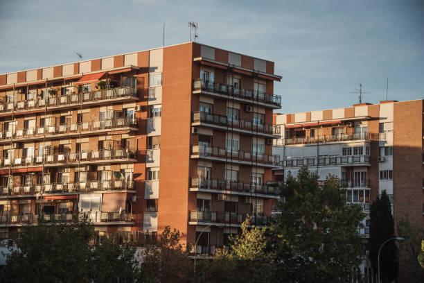 Old residential buildings in Madrid, Spain stock photo
