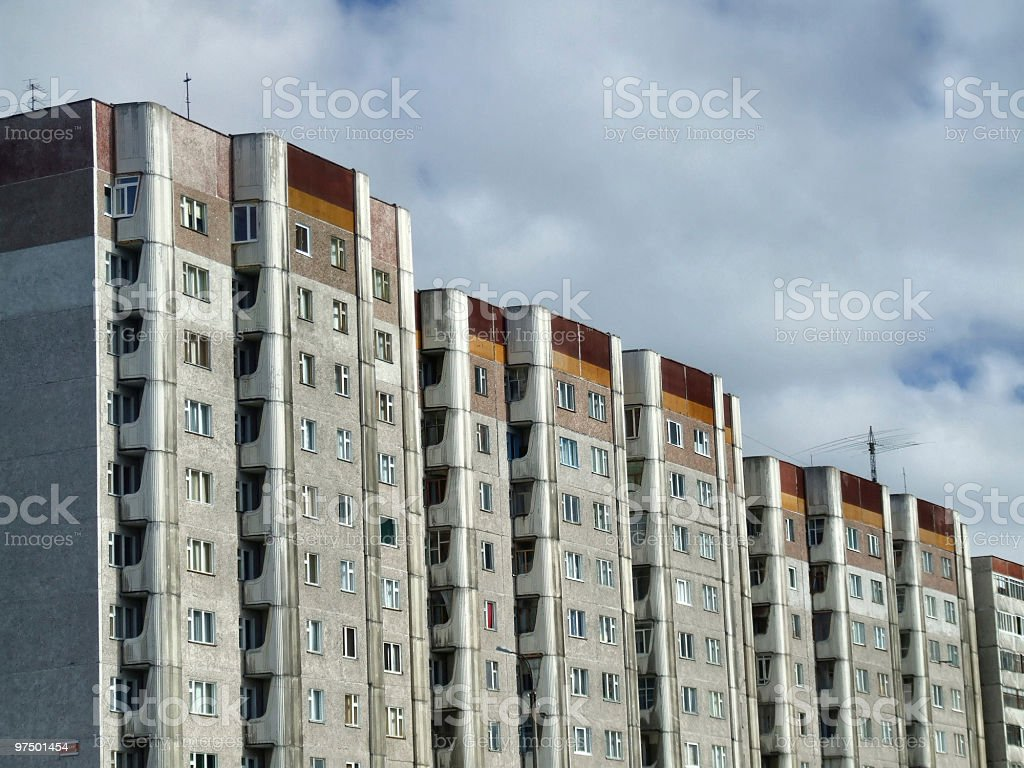 Old residential communistic skyscrapers royalty-free stock photo