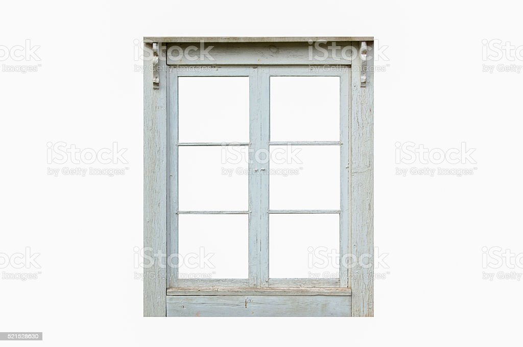 Old residential cut out window stock photo