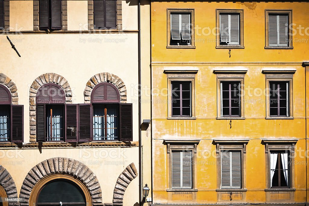 Old Residential Facades in Firenze, Italy royalty-free stock photo