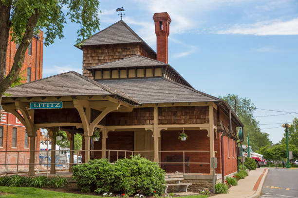Old Restored Railroad Station In Lititz Pennsylvania stock photo
