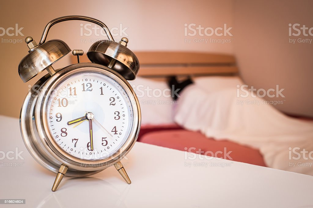 old retro alarm clock stock photo