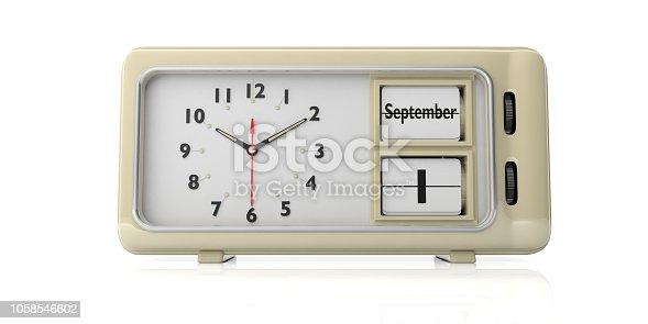 istock Old retro alarm clock, September 1st date, white background, isolated. 3d illustration. 1058546602