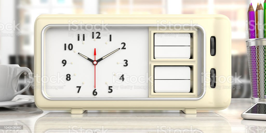 ed7da219f3e7be Old Retro Alarm Clock With Blank Date And Day Office Desk Background ...