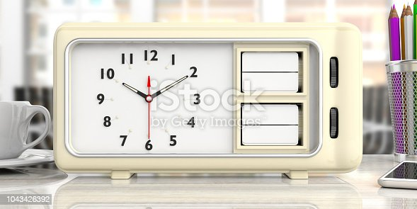 23a6fd2a4fda32 Old Retro Alarm Clock With Blank Date And Day Office Desk Background 3d  Illustration Stock Photo   More Pictures of 10 O Clock - iStock