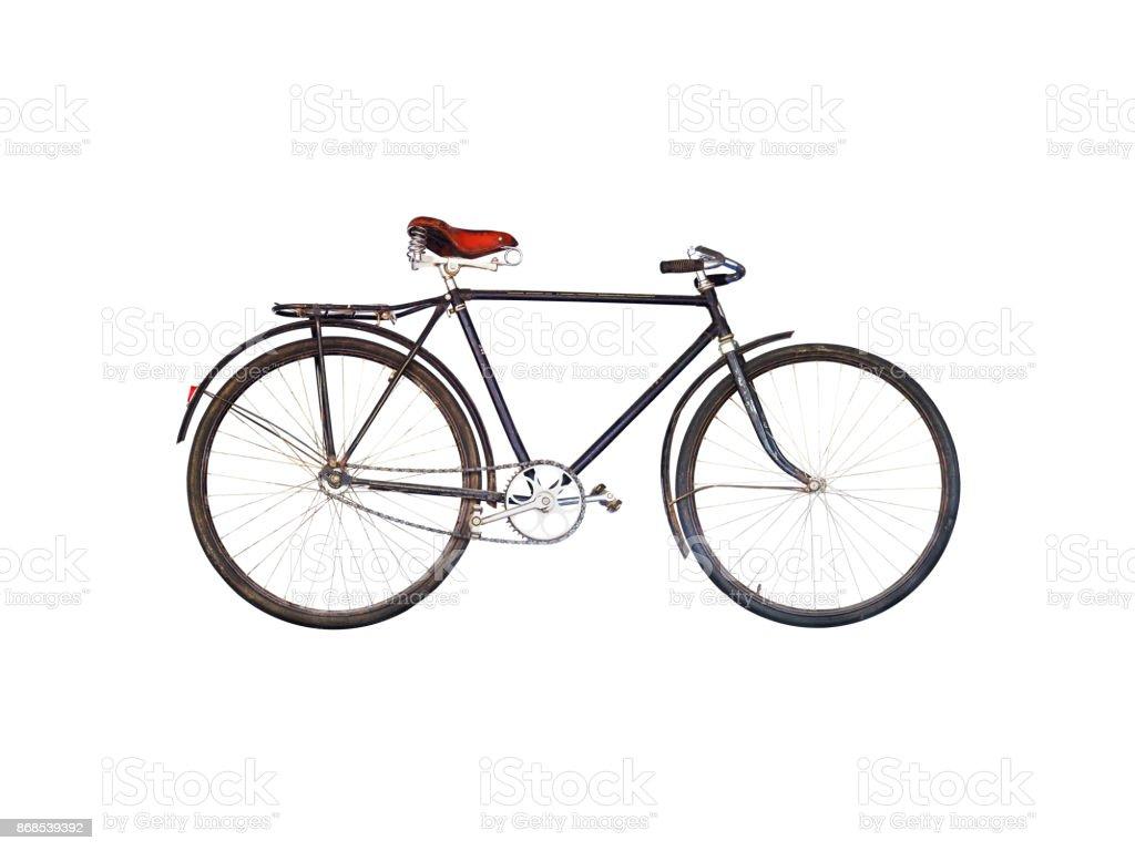 Bicicleta retro vieja de la segunda mitad del siglo pasado aislado sobre fondo blanco. Bicicleta negro oxidada con marco y el tronco - foto de stock