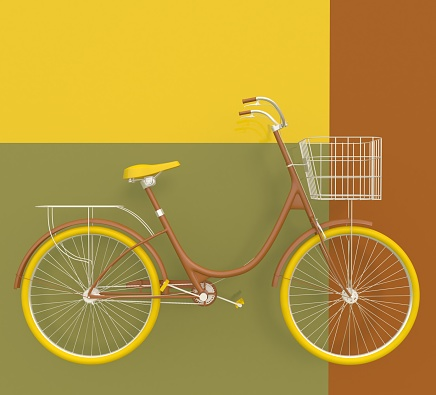 Old retro bicycle painted in bright colors on a colorful background. Abstract concept.