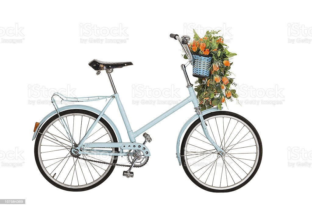 Old retro bicycle with flowers stock photo