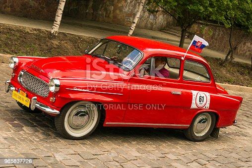 Lviv, Ukraine - June 3, 2018:Old retro car FSO Syrena 104  its owner and an unknown passenger taking participation in race Leopolis grand prix 2018, Ukraine.