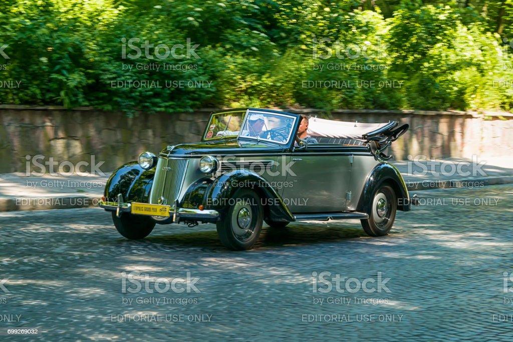 Old retro car  Wanderer W 23 taking participation in race Leopolis grand prix 2017 stock photo