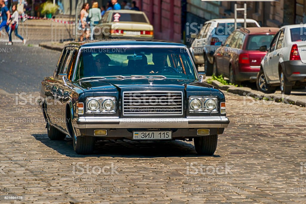 Old retro car  ZIL -115 taking participation in race Leopolis grand prix 2017 stock photo