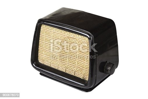 istock Old retro radio from the fifties on the white background 900678070